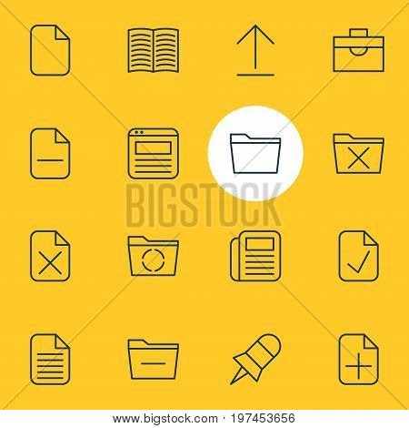 Editable Pack Of Page, Delete, Textbook And Other Elements.  Vector Illustration Of 16 Workplace Icons.