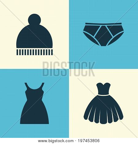 Garment Icons Set. Collection Of Beanie, Dress, Briefs And Other Elements