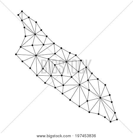 Aruba map of polygonal mosaic lines network rays and dots vector illustration.