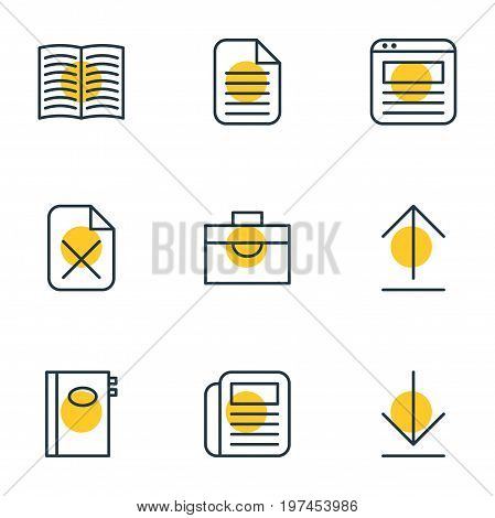 Editable Pack Of Remove, Blank, Textbook And Other Elements.  Vector Illustration Of 9 Bureau Icons.