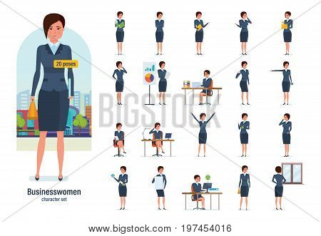 Set of character businesswoman in office work situations. Young clerk in formal wear. Different poses and emotions, gestures, actions, working. Illustration isolated in cartoon style front and rear view