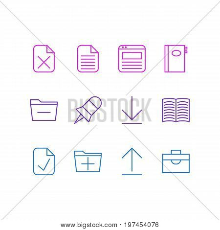 Editable Pack Of Note, Done, Deleting Folder And Other Elements.  Vector Illustration Of 12 Office Icons.