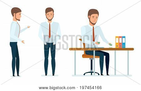 Concept of financial management, analysis, research, office work. Financial manager works with documents, serves and advises clients, conducts money operations. Vector illustration in cartoon style.