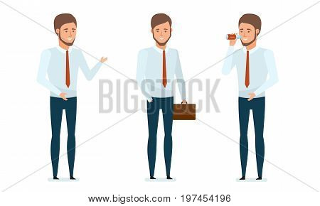 Concept of financial management, analysis, research. Financial manager provides advice, conducts business, rests, drinks water, business lunch, relaxes. Vector illustration in cartoon style.