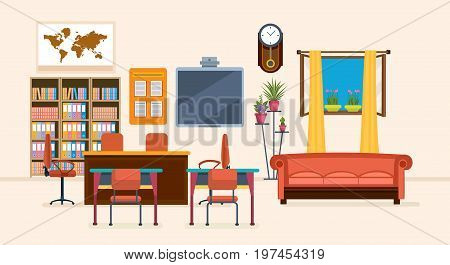 Interior of room for teacher, with furniture, interior items, thematic objects. Workplace. Education and training. Class for education, board, table, study, blackboard and lesson Vector illustration
