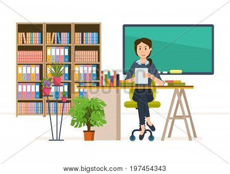 Interior of room for teacher. School worker, teacher in classroom at school. Workplace. Education and training. Class for education, board, table, study, blackboard and lesson. Vector illustration