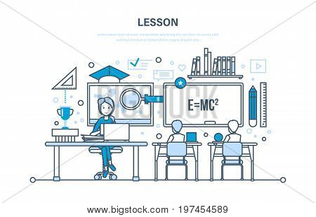Concept of system education and training, learning, school and lass lesson, knowledge, science, teaching, skills, teacher with students. Illustration design of vector doodles, infographics elements.