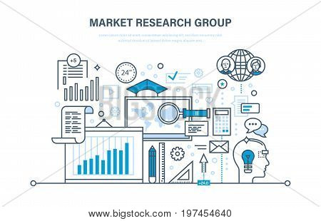 Market research group. Analysis, research statistic, information exchange. Implementation of innovations and accounting in projects, time management. Illustration thin line design of vector doodles.