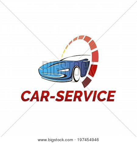 Vector logo template for car service and repair car wash or site auto sales. Car and sign speedometer.