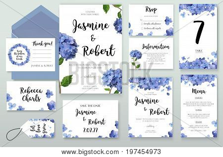 Wedding Invitation invite card Design with Hydrangea Hortensia blue flower bouquet frame composition wreath. Vector floral Botanical Template garden elegant set collection.Anniversary flowers layout