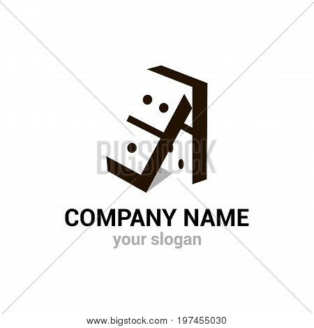 Domino vector logo template. EPS10. Gambling icon. Creative logotype for construction company.
