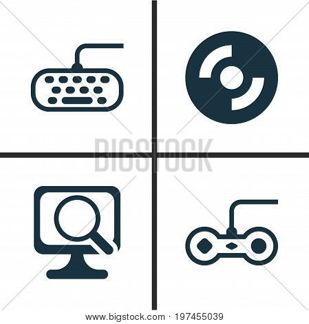 Hardware Icons Set. Collection Of Laptop, Computer Keypad, Joystick And Other Elements