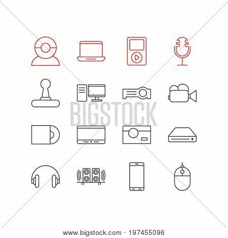 Editable Pack Of Sound Recording, Photography, Video Chat And Other Elements.  Vector Illustration Of 16 Accessory Icons.