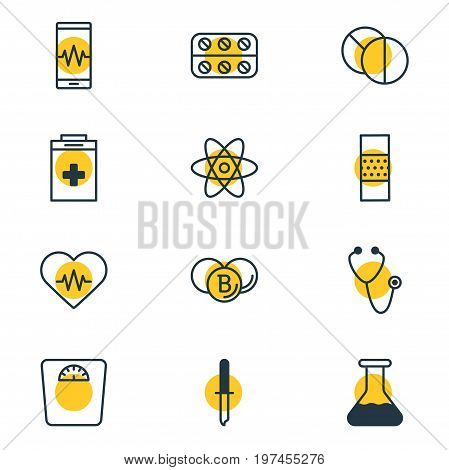 Editable Pack Of Exigency, Pills, Round Tablet And Other Elements.  Vector Illustration Of 12 Medical Icons.