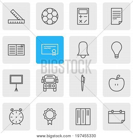 Editable Pack Of Paper, Jingle, Textbook And Other Elements.  Vector Illustration Of 16 Studies Icons.