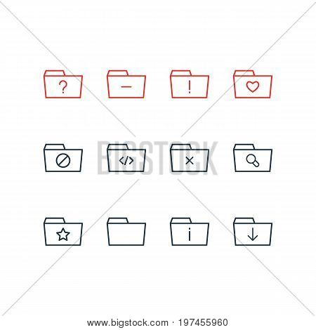 Editable Pack Of Question, Minus, Liked And Other Elements.  Vector Illustration Of 12 Dossier Icons.