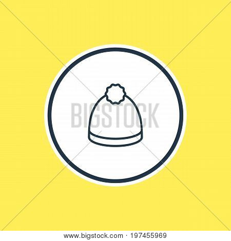 Beautiful Garment Element Also Can Be Used As Pompom Element.  Vector Illustration Of Beanie Outline.
