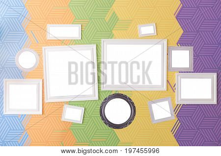 home decoration and art accessories concept - set of stylish picture frames of various sizes, square, round and rectangular, isolated on background with abstract pattern of five bright colors
