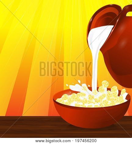 Flakes corn or wheat in a bowl. Milk pouring from the jug a plate with cereal. Vector illustration.