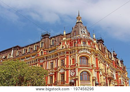 KYIV, UKRAINE - MAY 1, 2017: Old building in the neo-renaissance style in Kyiv. The hotel