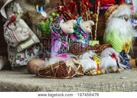 Belarus Dudutki - 11/07/2017: Folk art. Souvenir crafts of fairy-tale characters