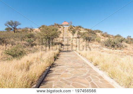 Steps leading to the viewpoint at Heroes Acre to the south of Windhoek