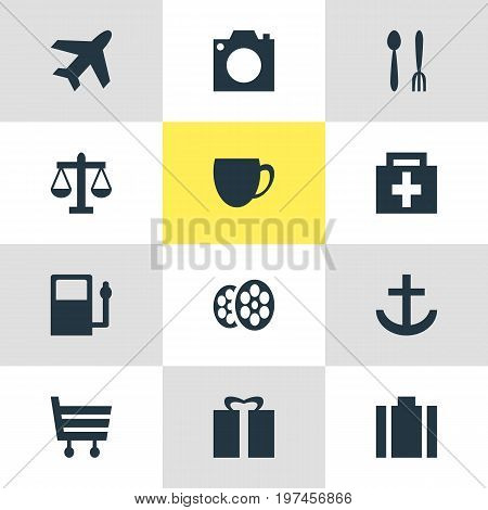 Editable Pack Of Present, Photo Device, Shopping Cart And Other Elements.  Vector Illustration Of 12 Map Icons.