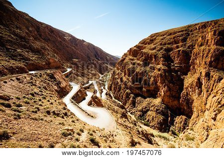 View on Serpentine street by Dades valley in Morocco