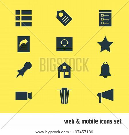 Editable Pack Of Bullhorn, Target Scope, Thumbtack And Other Elements.  Vector Illustration Of 12 Internet Icons.