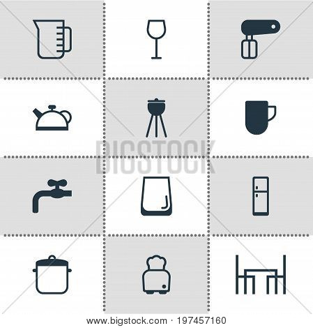 Editable Pack Of Dinner Table, Whisk, Bread And Other Elements.  Vector Illustration Of 12 Kitchenware Icons.