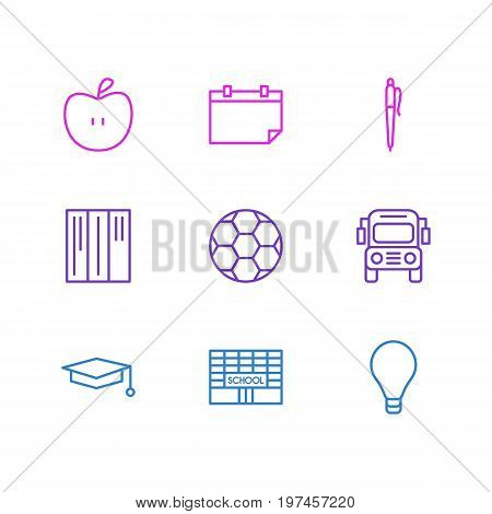 Editable Pack Of Pencil, Date, Football And Other Elements.  Vector Illustration Of 9 Education Icons.