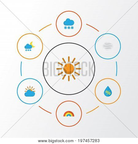 Weather Flat Icons Set. Collection Of Sun, Bow, Windy And Other Elements