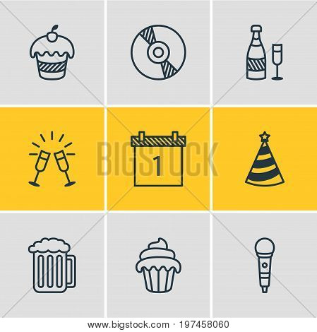 Editable Pack Of Cap, Karaoke, Muffin And Other Elements.  Vector Illustration Of 9 Banquet Icons.
