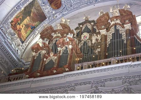 Salzburg, Austria - May 01, 2017: Interior of Salzburg Cathedral - organ on May 01, 2017 in Salzburg, Austria