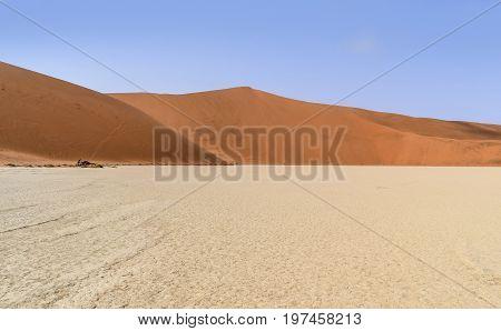 Namib desert scenery around Deadvlei in the Sossusvlei area in Namibia Africa