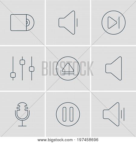 Editable Pack Of Mike, Compact Disk, Rewind And Other Elements.  Vector Illustration Of 9 Music Icons.