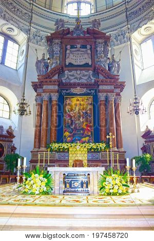 Salzburg, Austria - May 01, 2017: Interior of Salzburg Cathedral - details of altar on May 01, 2017 in Salzburg, Austria