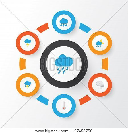 Climate Flat Icons Set. Collection Of Drizzles, The Flash, Lightning And Other Elements