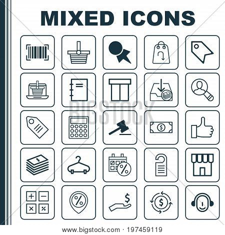 Ecommerce Icons Set. Collection Of Price Stamp, Box, Price And Other Elements