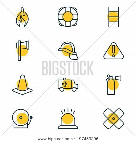 Editable Pack Of Exclamation, Siren, Ax And Other Elements.  Vector Illustration Of 12 Emergency Icons.