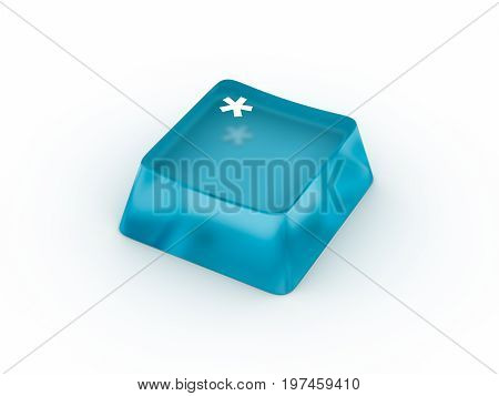 Asteric sumbol on transparent keyboard button. 3D rendering