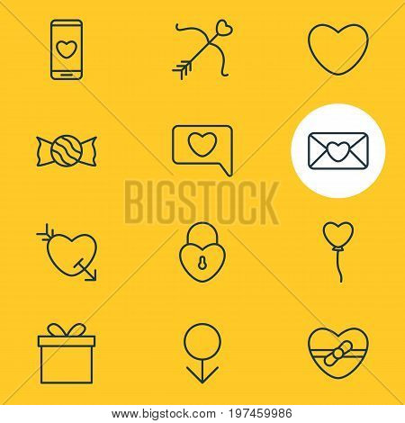 Editable Pack Of Lollipop, Soul, Cupid And Other Elements.  Vector Illustration Of 12 Passion Icons.