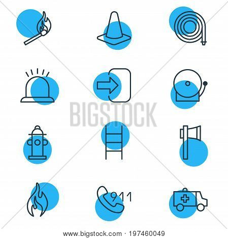 Editable Pack Of Fire, Siren, Taper And Other Elements.  Vector Illustration Of 12 Necessity Icons.