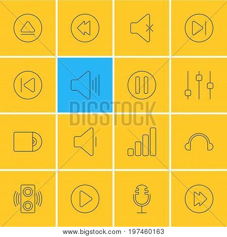 Editable Pack Of Soundless, Lag, Compact Disk And Other Elements.  Vector Illustration Of 16 Melody Icons.