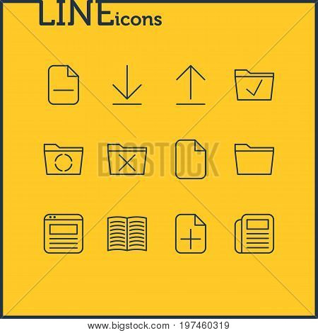 Editable Pack Of Page, Loading, Minus And Other Elements.  Vector Illustration Of 12 Office Icons.