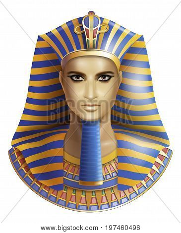 Egyptian pharaoh Tutankhamen isolated on white background.