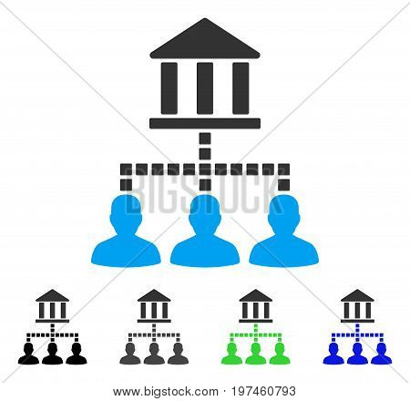 Bank Clients flat vector pictogram. Colored bank clients gray black blue green pictogram variants. Flat icon style for web design.