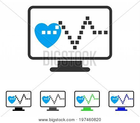 Cardio Monitoring flat vector illustration. Colored cardio monitoring gray black blue green pictogram variants. Flat icon style for web design.