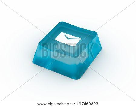 Envelop symbol on transparent keyboard button. 3D rendering