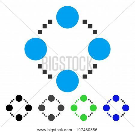 Circular Relations flat vector illustration. Colored circular relations gray black blue green pictogram versions. Flat icon style for application design.